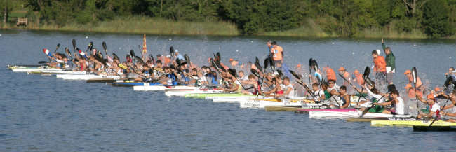 Held canoe marathon race start