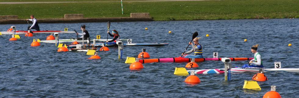 Start of a womens A 200m kayak heat