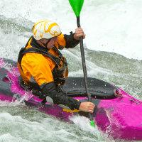 White Water Paddler in pink kayak