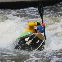 Freestyle paddler in their guigui-prod kayak