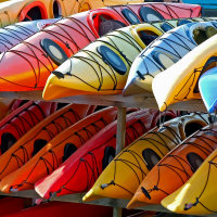 Multi coloured sea Kayaks