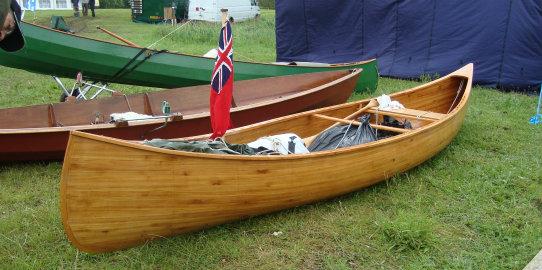 Beautiful wooden open canoe